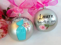 Bridesmaid Ornaments - Hand Painted Ornaments, Bridal Ornaments, Bridesmaid Gifts, Dress Ornament, Personalized, Custom Dress Ornament by SAM Designs @ www.samdesigns.net
