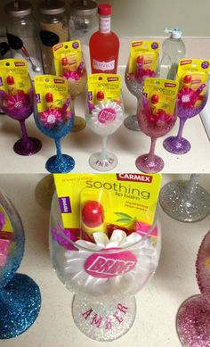 Party favors for the bachelorette party! Complete with bride/team bride pin, bubbles, lip balm, gum, alcohol and a diy glitter glass to drink with!!