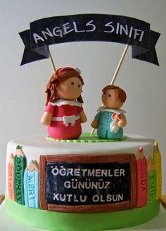 Teacher's Day Cake  #fondant #figures  mintfirin.blogspot.com