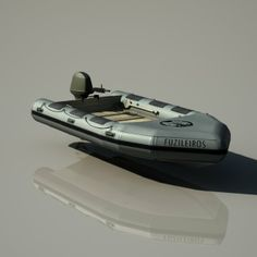 Inflated motor boat zebro