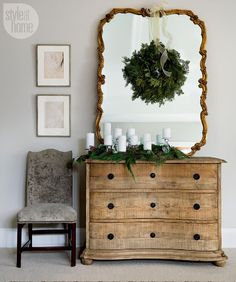 I adore all of the natural materials and greenery used throughout the lovely home of Jennifer Brumley as seen on Style At Home's website. Branches, boxwoods, hydrangeas,tiny fir trees, and moss bring
