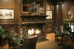 Luxury Hospitality Interior Design with Cozy Fireplace of Big 4 Restaurant, San Francisco
