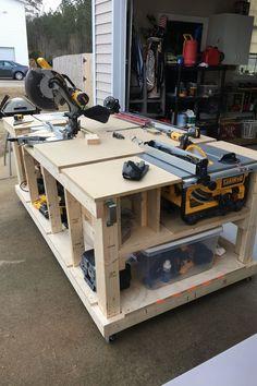 Garage Workbench Plans, Table Saw Workbench, Woodworking Bench Plans, Woodworking Workbench, Woodworking Projects, Workbench Ideas, Industrial Workbench, Workbench Designs, Woodworking Machinery