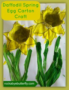 Spring Daffodil Egg Carton Craft (Rockabye Butterfly)