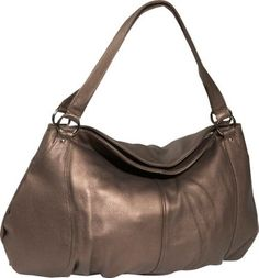 Derek Alexander Bronze This classy purse has a unique shape and makes for a great evening bag Material: Top Grain Cowhide with a Soft Pebble Finish Leather, Handbags, Hobos, Shoulder Bags, Derek Alexander, Double Handles, Leather Handbags