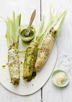 Our favorite new recipe for summer nights- Basil Parmesan Grilled Corn