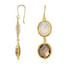 White Agate and Smokey Quartz Drop Earrings in Gold Vermeil