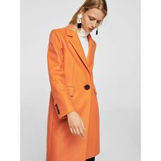 Mango Structured Wool Coat featuring polyvore, women's fashion, clothing, outerwear, coats, orange wool coat, oversized lapel coat, lapels wool coat, wool coat and woolen coat
