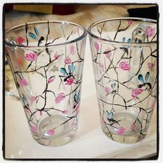 dragonfly in my backyard..hand painted glassware from #Sak9