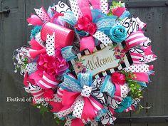 Custom Order for Karen  Summer Welcome Deco Mesh Wreath