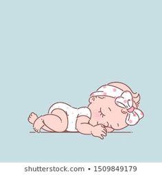 Cute little bagirl in white bodysuit newborn Vector Image Cute Little Baby Girl, Little Babies, Cartoon Drawings, Cute Drawings, Scrapbook Bebe, Baby Illustration, Belly Painting, Baby Drawing, Baby Cartoon