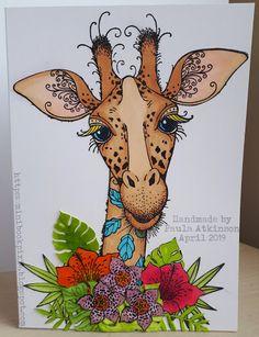 Pink Ink Designs Giraffe Birthday card coloured with copic markers - Giraffe Drawing, Giraffe Art, Giraffe Birthday, Happy Birthday Animals, Birthday Wishes, Birthday Cards, Giraffe Pictures, Ink Stamps, Animal Cards