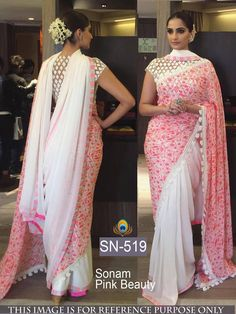 Are you looking for latest party wear sarees? Here are 20 Gorgeous party wear sarees and attractive blouse designs worn by top Bollywood actresses for you to check out Sonam Kapoor Saree, Bollywood Saree, Bollywood Designer Sarees, Bollywood Fashion, Indian Bollywood, Indian Attire, Indian Ethnic Wear, Indian Style, Saree Draping Styles