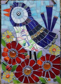 Mosaic Bird Wall Art Pink Flowers Broken by GoodAfternoonAgatha Mosaic Garden Art, Mosaic Tile Art, Mosaic Artwork, Mosaic Crafts, Mosaic Projects, Mosaic Glass, Mosaic Ideas, Easy Mosaic, Mosaic Animals