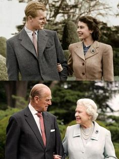 Partners for life: Lizzie II smiles up at her hubby. The couple wed on November back in 1947 in Westminster Abbey in London. The pair began exchanging letters when Elizabeth was just 13-years-old, becoming secretly engaged seven years later. How romantic!