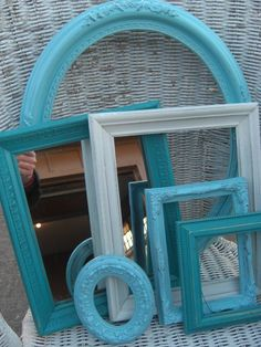 Antique frames in modern color with a worn or stressed look.