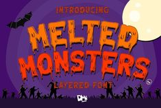 Melted Monster (Font) by · Creative Fabrica Halloween Fonts, Halloween Projects, Halloween Themes, Halloween Design, Script Logo, Freelance Graphic Design, Premium Fonts, All Fonts