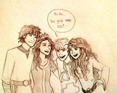 Then he gets sad because he realizes he will loose them (Hiccup, Rapunzel, Jack and Merida)