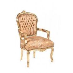 Poltrona sedia barocco bianco oro Luigi XVI braccioli legno gemme ...