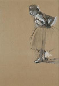 Edgar Degas  / Standing Dancer Fastening Her Sash  ca. 1873  Gouache on paper    The Ronald S. Lauder Collection, New York