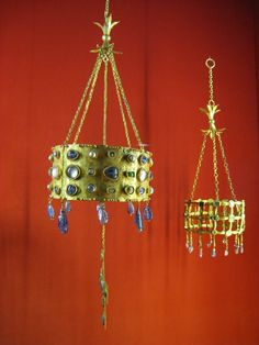 Seventh century Visigothic votive crowns from the Treasure of Guarrazar, made of gold, precious stones, nacre, pearls and crystal. Museo Arqueológico Nacional de España, Madrid