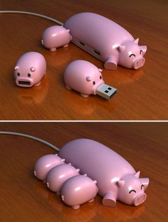 This is probably the cutest USB Hub ever! Who could resist plugging in the little starving USB piggies?