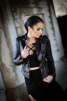 Charlotte Russe platform peep toe ankle cuff :: Zara black maxi skirt  :: Black criss cross crop top :: Zara leather biker jacket :: winter all black outfit inspiration street style