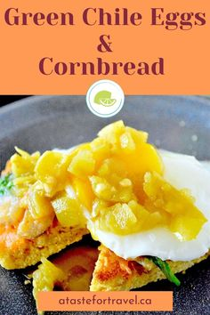 You can have a hearty, fresh-made breakfast on the table in about 20 minutes with easy recipe for Green Chile Eggs and Cornbread Toast. It's made with toasted leftover cornbread topped with baby spinach, onion, melted cheese and eggs the way you like it topped with green chile peppers. It's a light and healthy Southwestern-style version of the classic Eggs Florentine. Leftover Cornbread Recipe, Homemade Cornbread, Cheese Dishes, Fruit Dishes, Delicious Breakfast Recipes, Brunch Recipes, Eggs Florentine, Breakfast Pastries, Egg Dish