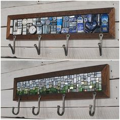 Custom Coat Rack, Mosaic Coat Rack, Hand-forged Entryway Coat Hooks, Wall Coat…