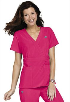 Med Couture Gold by Peaches Milan crossover v-neck scrub top.