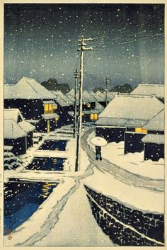 "kafkasapartment: "" Terajima Village in Twilight Snow, 1920. Kasawe Hasui. Color woodblock print """
