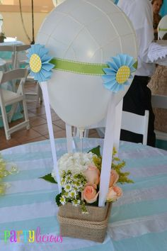 Baby shower + center pieces with burlap & baloon