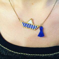 Mon petit bateau monté en collier#creation #miyuki #brickstitch #homemade #jenfiledesperlesetjassume