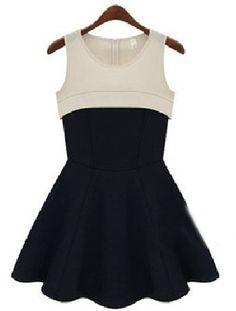 Champagne Black Round Neck Sleeveless High Waist Ruffles Dress