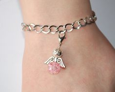 Chain bracelet with Angel charm by leonorafi on Etsy