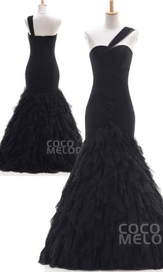 $206. Black mermaid tulle #promdress. #cocomelody