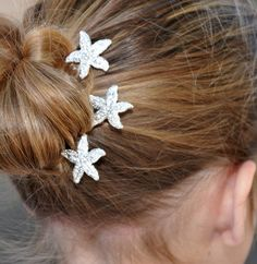 Starfish Hair Pins Bridal Wedding Silver Rhinestone