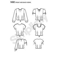 Simplicity Pattern 1692 Misses' 1940s Vintage Tops