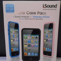 FOR IPOD TOUCH 4TH GENERATION TRIPLE CASE PACK BLACK BLUE PINK SCREEN PROTECTOR | Consumer Electronics, Portable Audio & Headphones, iPod, Audio Player Accessories | eBay!