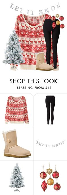 """""""Day 4- Christmas Tree Decorating🎄"""" by mimichavi ❤ liked on Polyvore featuring Miss Selfridge, UGG Australia, Fraser Hill Farms, Improvements and 30DaysOfChristmas2k16"""