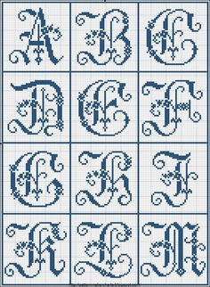 several free alphabet cross-stitch patterns from historic books