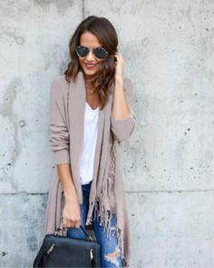 Tassel Knitted Sweater Cardigan- Beige- This Tassel Knitted Sweater  Cardigan is your go to 8de59730e