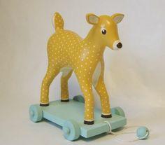 vintage deer pull toy