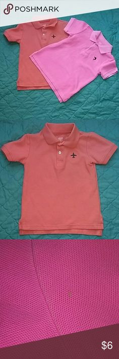 *ON SALE* Carter's polo shirts Orange and pink Carter's polo shirts Both size 5t Orange shows no signs of wear only been worn once. Pink has 2 very small spots on the sleeve and the coller and sleeves look like fading but it is the way the shirt was made Carter's Shirts & Tops Polos