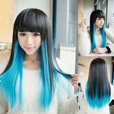 High Quality Harajuku Style Full Bang Layered Black Gradient Blue Long Straight Cosplay Wig