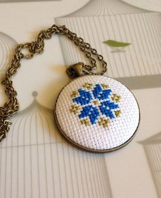 Folk Flower Cross Stitched Necklace Royal Blue and by getfeltup