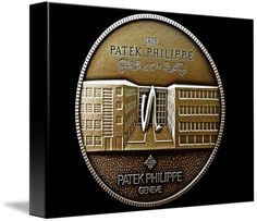 """Patek Philippe Geneve Commemorative Medal Coin (Front) $80 // Style: Soft Edge Canvas Print; Size: Small 11"""" x 15"""" // Visit http://www.imagekind.com/Patek-Philippe-Geneve-PPG_art?IMID=5cad76ca-2632-4430-9e1b-71f73e27c714 for product details."""