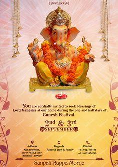 Ganpati Invitation Card, Invitation Card Design, Invitation Cards, Ganesh Lord, Ganesha, Ganesh Pooja, Free Photoshop, Photoshop Actions, Ganesh Jayanti