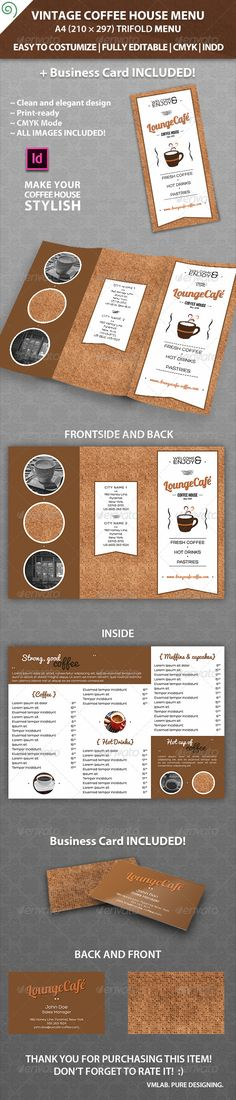 Vintage Coffee House Menu Template - Food Menus Print Templates Download here : http://graphicriver.net/item/vintage-coffee-house-menu-template/6018410?s_rank=1269&ref=Al-fatih
