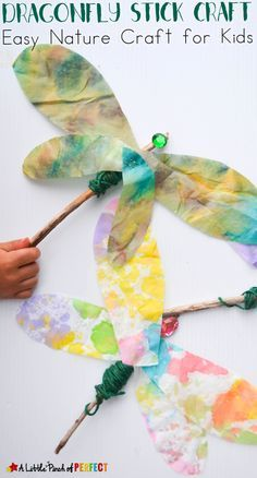 Beautiful Dragonfly Stick Craft: Easy Nature Craft for Kids - lovely watercolor effect on these dragonflies!